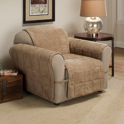 Box Cushion Armchair Slipcover Size: 98.5 H x 109 W, Upholstery: Camel