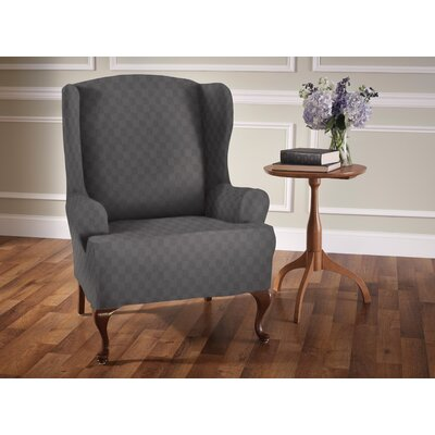 Stretch Sensation T-Cushion Wingback Slipcover Upholstery: Gray