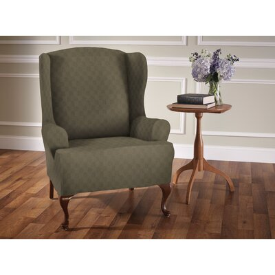 Sensation T-Cushion Wingback Slipcover Upholstery: Sage