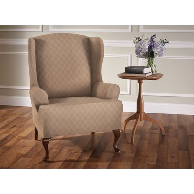 Sensation T-Cushion Wingback Slipcover Upholstery: Wheat