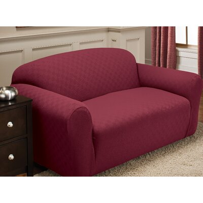 Box Cushion Loveseat Slipcover Upholstery: Brick