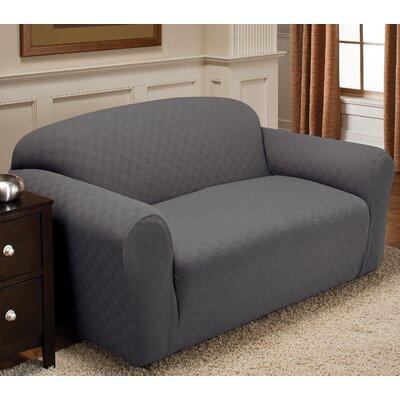 Box Cushion Loveseat Slipcover Upholstery: Gray