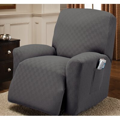 Box Cushion Recliner Slipcover Upholstery: Gray