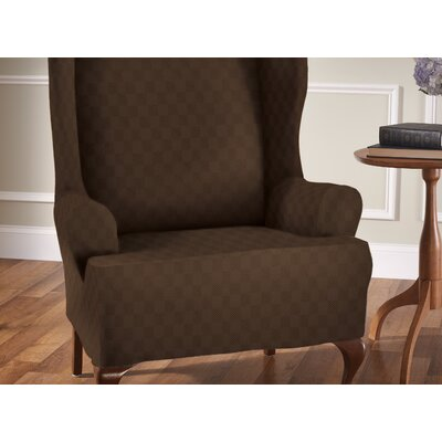 Stretch Sensation T-Cushion Wingback Slipcover Upholstery: Chocolate