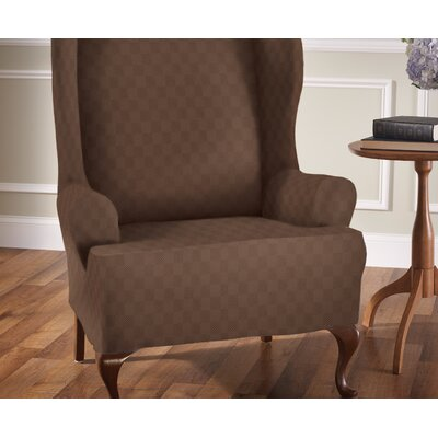 Stretch Sensation T-Cushion Wingback Slipcover Upholstery: Cocoa