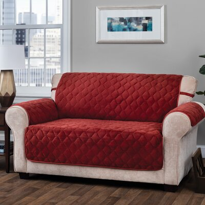 Logan with Straps T-Cushion Loveseat Slipcover Upholstery: Burgundy