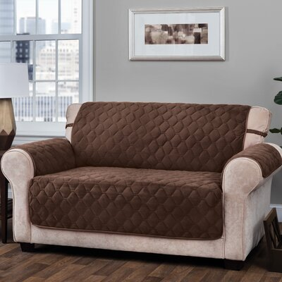 Logan with Straps T-Cushion Loveseat Slipcover Upholstery: Chocolate