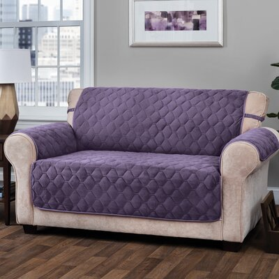 Logan with Straps T-Cushion Loveseat Slipcover Upholstery: Grape