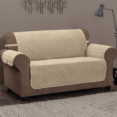Logan with Straps T-Cushion Loveseat Slipcover Upholstery: Natural