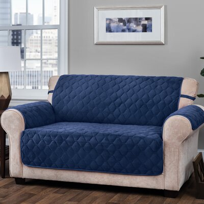 Logan with Straps T-Cushion Loveseat Slipcover Upholstery: Navy