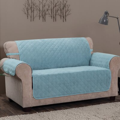 Logan with Straps T-Cushion Loveseat Slipcover Upholstery: Spa Blue