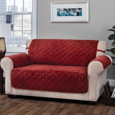 Logan with Straps T-Cushion Sofa Slipcover Size: 0.25 H x 110 W x 75.5 D, Upholstery: Burgundy