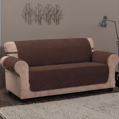 Logan with Straps T-Cushion Sofa Slipcover Size: 0.25 H x 120 W x 75.5 D, Upholstery: Chocolate
