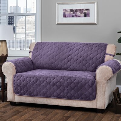Logan with Straps T-Cushion Sofa Slipcover Size: 0.25 H x 120 W x 75.5 D, Upholstery: Grape
