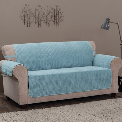 Logan with Straps T-Cushion Sofa Slipcover Size: 0.25 H x 110 W x 75.5 D, Upholstery: Spa Blue