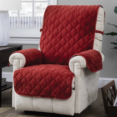 Burgundy/Ogee Quilt Stitch Logan with Straps T-Cushion Recliner Slipcover Upholstery: Burgundy