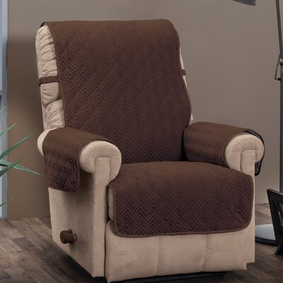 Chocolate/Chevron Logan with Straps T-Cushion Recliner Slipcover Upholstery: Chocolate