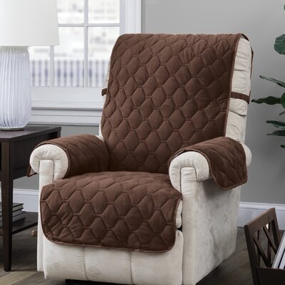 Burgundy/Ogee Quilt Stitch Logan with Straps T-Cushion Recliner Slipcover Upholstery: Chocolate
