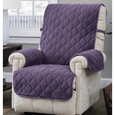 Burgundy/Ogee Quilt Stitch Logan with Straps T-Cushion Recliner Slipcover Upholstery: Grape