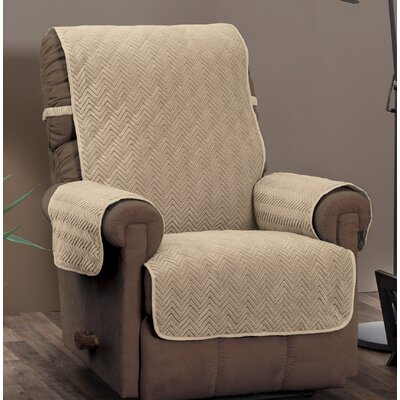 Chocolate/Chevron Logan with Straps T-Cushion Recliner Slipcover Upholstery: Natural