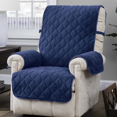 Burgundy/Ogee Quilt Stitch Logan with Straps T-Cushion Recliner Slipcover Upholstery: Navy