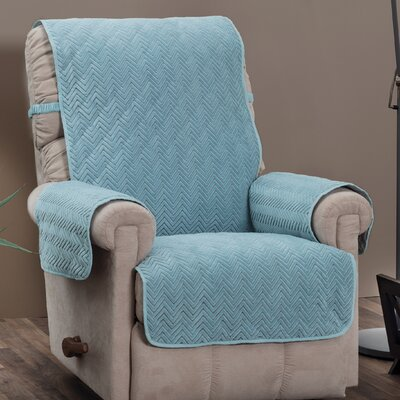 Chocolate/Chevron Logan with Straps T-Cushion Recliner Slipcover Upholstery: Spa Blue