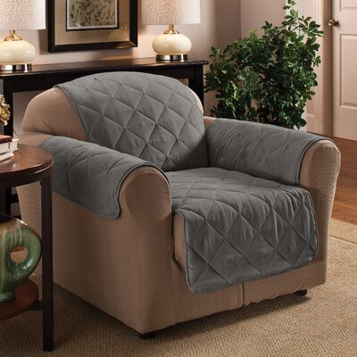 Pet Club Box Cushion Armchair Slipcover Upholstery: Gray
