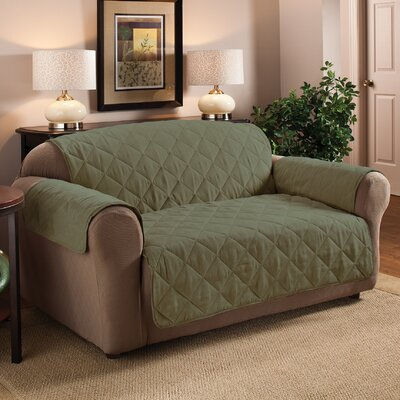Pet Box Cushion Loveseat Slipcover Upholstery: Sage