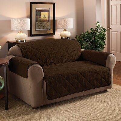 Pet Box Cushion Loveseat Slipcover Upholstery: Chocolate