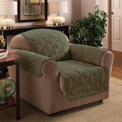 Pet Club Box Cushion Armchair Slipcover Upholstery: Sage