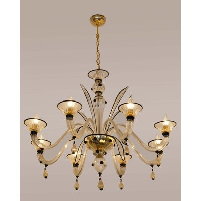 Cristalstrass Murano & Crystal Margherita 8 Light Chandelier - Color: Black and Clear with Gold Leaf at Sears.com