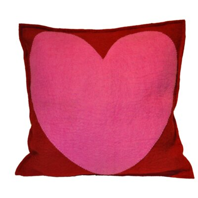 Mansell Pink Heart Wool Throw Pillow