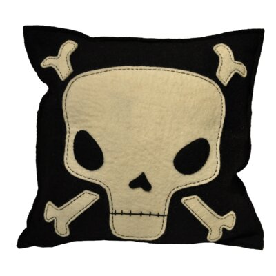 Manriquez Skull and Crossbone Wool Throw Pillow