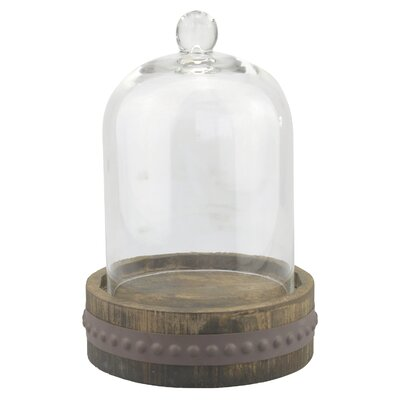 Stonebriar Rustic Wood with Bell Shape Cloche