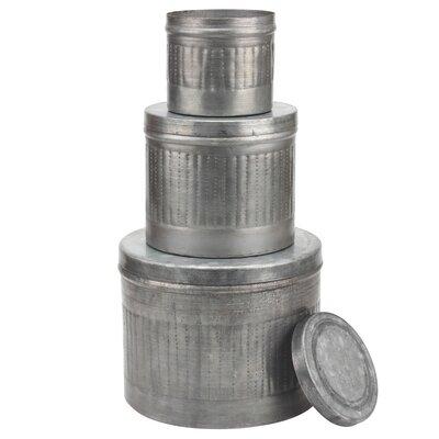 Stonebriar 3 Piece Aged Galvanized Metal Round Storage Boxes Set