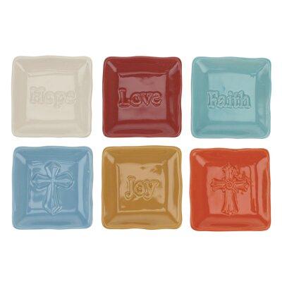 Stonebriar 6 Piece Square Embossed Sentiment Ceramic Plate Set