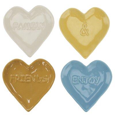 Stonebriar 4 Piece Heart Shaped Embossed Sentiment Ceramic Plate Set