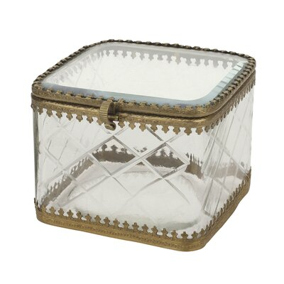 Stonebriar Metal Rim Etched Glass Trinket Box