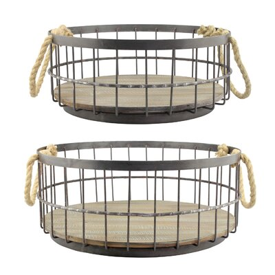 Stonebriar 2 Piece Wire and Wood Coastal Basket Set