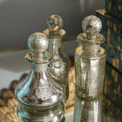 3 Piece Stonebriar Mercury Glass Decorative Bottle and Stopper Set