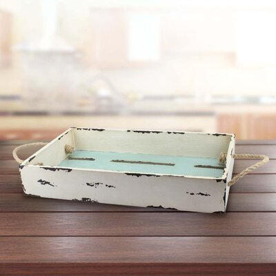 Worn Painted Slotted Tray with Rope Handles
