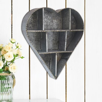 Stonebriar Heart Galvanized Metal Wall Shelf