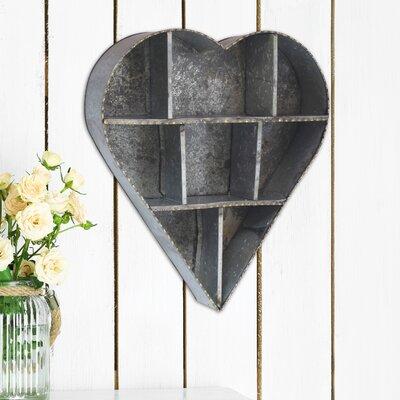 Stonebriar Heart Galvanized Metal Wall Shelf