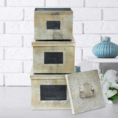Stonebriar 3 Piece Aged Galvanized Metal Boxes with Chalkboard Label Set