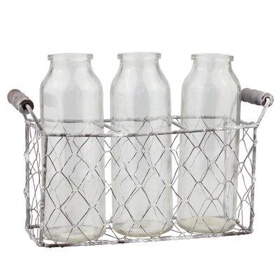 3 Piece Milk Decorative Glass Bottle Set with Caddy GRKS3083 40246515
