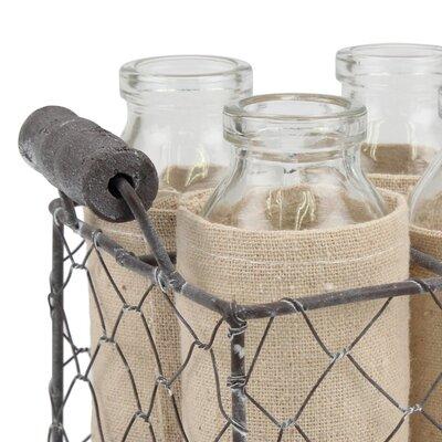 4 Piece Milk Decorative Glass Bottle Set with Caddy GRKS3084 40246516