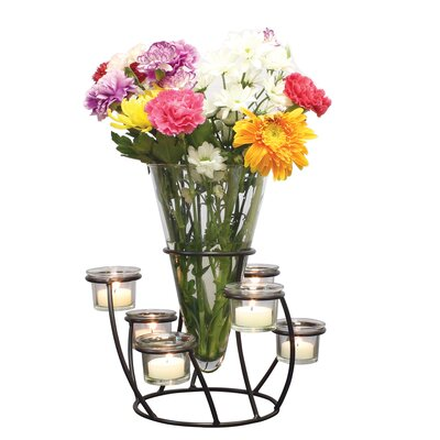 Glass Table Vase with Tea Light Votive Modern Centerpiece