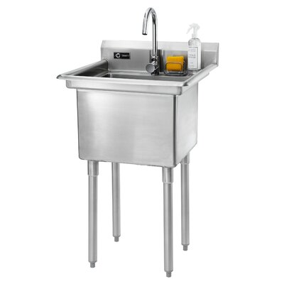 23 x 23 Single Stainless Steel Utility Sink with Faucet