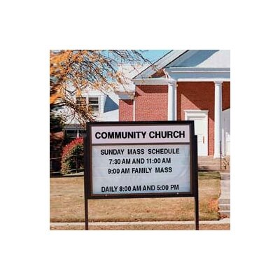 Marquee Changeable Sign System with Optional Symbol Case in Multiple Colors Color: Black