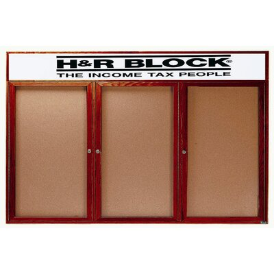 """Aarco Products Enclosed Bulletin Board w/ Natural Pebble Grain Cork Back Panel -Frame Color:Walnut Stain, Number of Doors:One, Size:36"""" Hx36"""" W at Sears.com"""